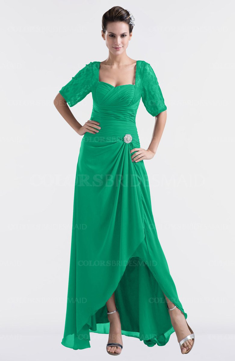 987c1b39d6ddd ColsBM Emilia Sea Green Modest Sweetheart Short Sleeve Zip up Floor Length  Plus Size Bridesmaid Dresses