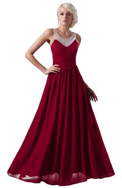 ColsBM Cora Maroon Cute A-line Scoop Sleeveless Zipper Beading Plus Size Bridesmaid Dresses