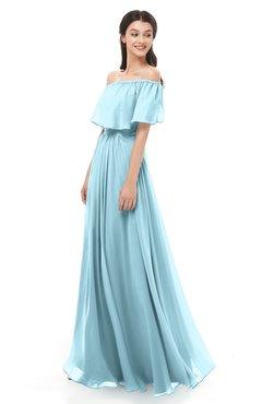 ColsBM Hana Aqua Bridesmaid Dresses Romantic Short Sleeve Floor Length Pleated A-line Off The Shoulder