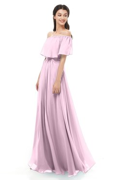 ColsBM Hana Baby Pink Bridesmaid Dresses Romantic Short Sleeve Floor Length Pleated A-line Off The Shoulder