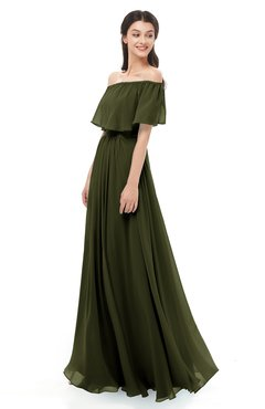 ColsBM Hana Beech Bridesmaid Dresses Romantic Short Sleeve Floor Length Pleated A-line Off The Shoulder