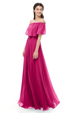 ColsBM Hana Beetroot Purple Bridesmaid Dresses Romantic Short Sleeve Floor Length Pleated A-line Off The Shoulder