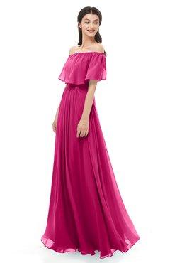 ColsBM Hana Beetroot Purple Bridesmaid Dresses Romantic Short Sleeve Floor Length Pleated A-line Off The Shoulder