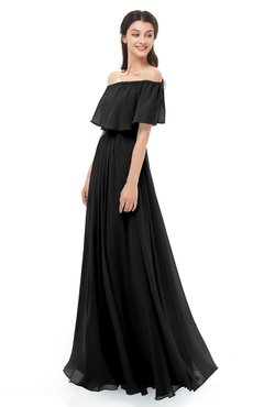 ColsBM Hana Black Bridesmaid Dresses Romantic Short Sleeve Floor Length Pleated A-line Off The Shoulder
