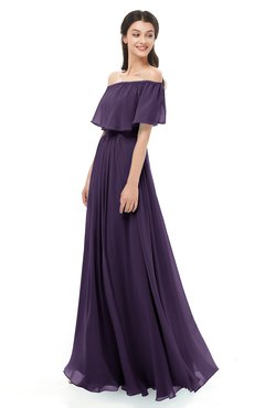 ColsBM Hana Blackberry Cordial Bridesmaid Dresses Romantic Short Sleeve Floor Length Pleated A-line Off The Shoulder