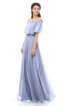 ColsBM Hana Blue Heron Bridesmaid Dresses Romantic Short Sleeve Floor Length Pleated A-line Off The Shoulder