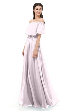 ColsBM Hana Frost Grey Bridesmaid Dresses Romantic Short Sleeve Floor Length Pleated A-line Off The Shoulder