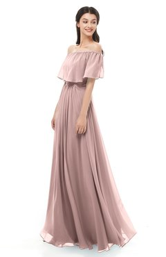 ColsBM Hana Bridal Rose Bridesmaid Dresses Romantic Short Sleeve Floor Length Pleated A-line Off The Shoulder