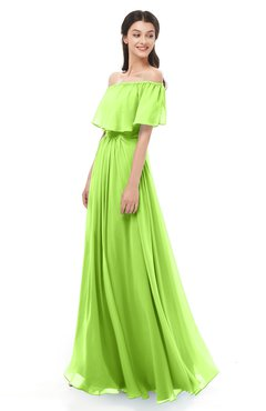 ColsBM Hana Bright Green Bridesmaid Dresses Romantic Short Sleeve Floor Length Pleated A-line Off The Shoulder