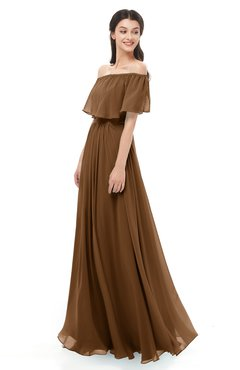 ColsBM Hana Brown Bridesmaid Dresses Romantic Short Sleeve Floor Length Pleated A-line Off The Shoulder