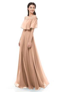ColsBM Hana Burnt Orange Bridesmaid Dresses Romantic Short Sleeve Floor Length Pleated A-line Off The Shoulder