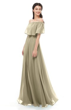 ColsBM Hana Candied Ginger Bridesmaid Dresses Romantic Short Sleeve Floor Length Pleated A-line Off The Shoulder