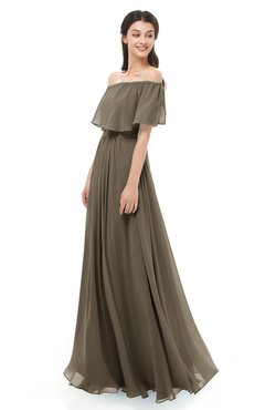 ColsBM Hana Carafe Brown Bridesmaid Dresses Romantic Short Sleeve Floor Length Pleated A-line Off The Shoulder