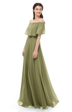 ColsBM Hana Cedar Bridesmaid Dresses Romantic Short Sleeve Floor Length Pleated A-line Off The Shoulder