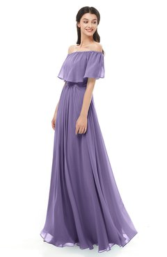 ColsBM Hana Chalk Violet Bridesmaid Dresses Romantic Short Sleeve Floor Length Pleated A-line Off The Shoulder