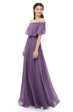 ColsBM Hana Chinese Violet Bridesmaid Dresses Romantic Short Sleeve Floor Length Pleated A-line Off The Shoulder