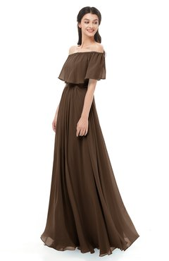 ColsBM Hana Chocolate Brown Bridesmaid Dresses Romantic Short Sleeve Floor Length Pleated A-line Off The Shoulder