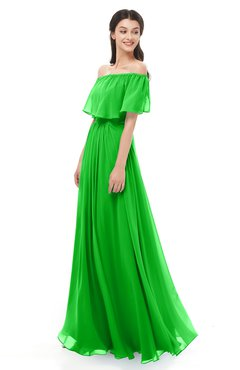 ColsBM Hana Classic Green Bridesmaid Dresses Romantic Short Sleeve Floor Length Pleated A-line Off The Shoulder