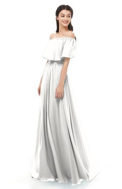 ColsBM Hana Cloud White Bridesmaid Dresses Romantic Short Sleeve Floor Length Pleated A-line Off The Shoulder