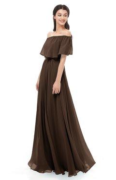 ColsBM Hana Copper Bridesmaid Dresses Romantic Short Sleeve Floor Length Pleated A-line Off The Shoulder