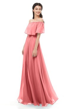 ColsBM Hana Coral Bridesmaid Dresses Romantic Short Sleeve Floor Length Pleated A-line Off The Shoulder