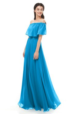 ColsBM Hana Cornflower Blue Bridesmaid Dresses Romantic Short Sleeve Floor Length Pleated A-line Off The Shoulder