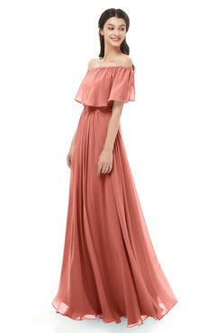 ColsBM Hana Crabapple Bridesmaid Dresses Romantic Short Sleeve Floor Length Pleated A-line Off The Shoulder