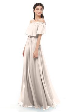 ColsBM Hana Cream Pink Bridesmaid Dresses Romantic Short Sleeve Floor Length Pleated A-line Off The Shoulder