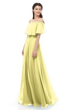 ColsBM Hana Daffodil Bridesmaid Dresses Romantic Short Sleeve Floor Length Pleated A-line Off The Shoulder
