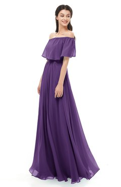 ColsBM Hana Dark Purple Bridesmaid Dresses Romantic Short Sleeve Floor Length Pleated A-line Off The Shoulder