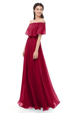 ColsBM Hana Dark Red Bridesmaid Dresses Romantic Short Sleeve Floor Length Pleated A-line Off The Shoulder