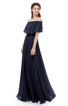 ColsBM Hana Dark Sapphire Bridesmaid Dresses Romantic Short Sleeve Floor Length Pleated A-line Off The Shoulder
