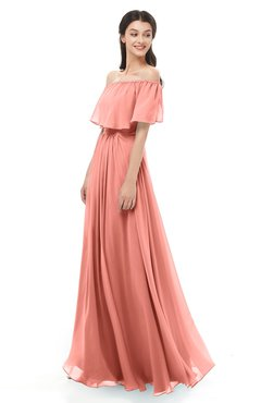 ColsBM Hana Desert Flower Bridesmaid Dresses Romantic Short Sleeve Floor Length Pleated A-line Off The Shoulder