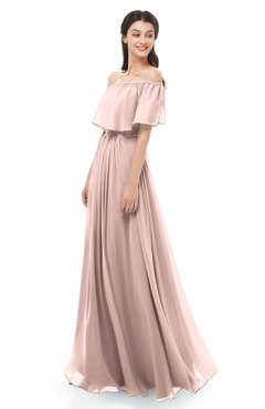 ColsBM Hana Dusty Rose Bridesmaid Dresses Romantic Short Sleeve Floor Length Pleated A-line Off The Shoulder