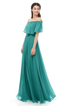 ColsBM Hana Emerald Green Bridesmaid Dresses Romantic Short Sleeve Floor Length Pleated A-line Off The Shoulder