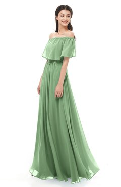 ColsBM Hana Fair Green Bridesmaid Dresses Romantic Short Sleeve Floor Length Pleated A-line Off The Shoulder