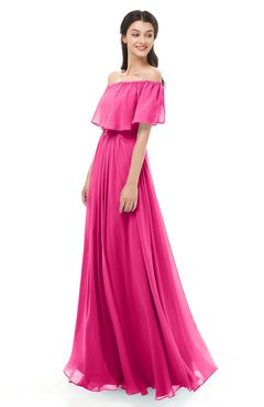 ColsBM Hana Fandango Pink Bridesmaid Dresses Romantic Short Sleeve Floor Length Pleated A-line Off The Shoulder