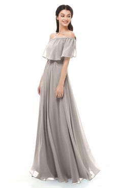 ColsBM Hana Fawn Bridesmaid Dresses Romantic Short Sleeve Floor Length Pleated A-line Off The Shoulder