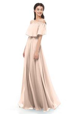 ColsBM Hana Fresh Salmon Bridesmaid Dresses Romantic Short Sleeve Floor Length Pleated A-line Off The Shoulder