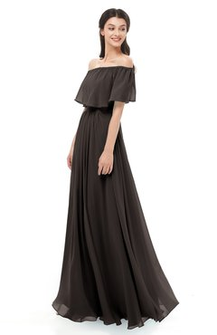 ColsBM Hana Fudge Brown Bridesmaid Dresses Romantic Short Sleeve Floor Length Pleated A-line Off The Shoulder