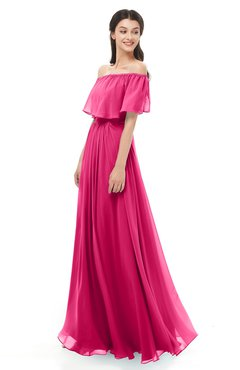 ColsBM Hana Fuschia Bridesmaid Dresses Romantic Short Sleeve Floor Length Pleated A-line Off The Shoulder