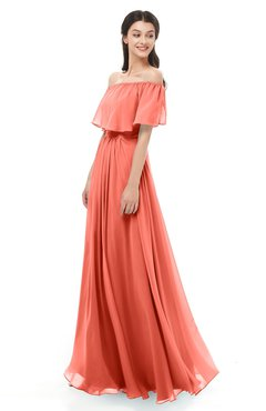 ColsBM Hana Fusion Coral Bridesmaid Dresses Romantic Short Sleeve Floor Length Pleated A-line Off The Shoulder
