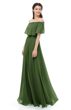 ColsBM Hana Garden Green Bridesmaid Dresses Romantic Short Sleeve Floor Length Pleated A-line Off The Shoulder