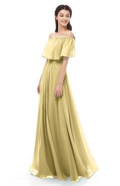 ColsBM Hana Gold Bridesmaid Dresses Romantic Short Sleeve Floor Length Pleated A-line Off The Shoulder