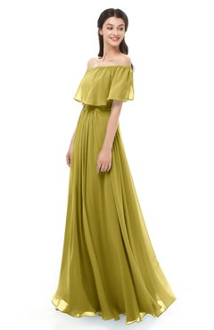 ColsBM Hana Golden Olive Bridesmaid Dresses Romantic Short Sleeve Floor Length Pleated A-line Off The Shoulder