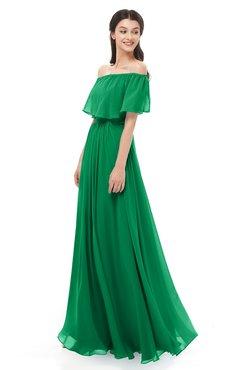 ColsBM Hana Green Bridesmaid Dresses Romantic Short Sleeve Floor Length Pleated A-line Off The Shoulder