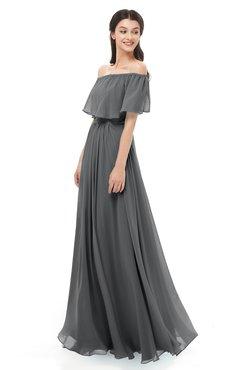 ColsBM Hana Grey Bridesmaid Dresses Romantic Short Sleeve Floor Length Pleated A-line Off The Shoulder
