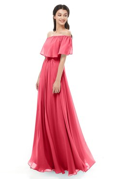 ColsBM Hana Guava Bridesmaid Dresses Romantic Short Sleeve Floor Length Pleated A-line Off The Shoulder