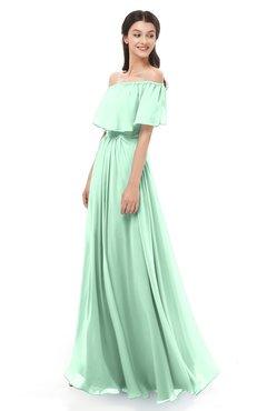 ColsBM Hana Honeydew Bridesmaid Dresses Romantic Short Sleeve Floor Length Pleated A-line Off The Shoulder
