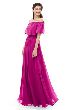 ColsBM Hana Hot Pink Bridesmaid Dresses Romantic Short Sleeve Floor Length Pleated A-line Off The Shoulder
